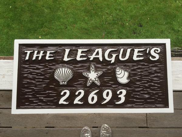 Leagues name and house number sign with beach theme -front