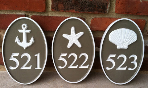 3 oval house number signs with nautical theme