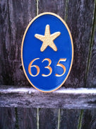 Any Color house number plaque with beach theme - Carved Street address marker (A28) - The Carving Company