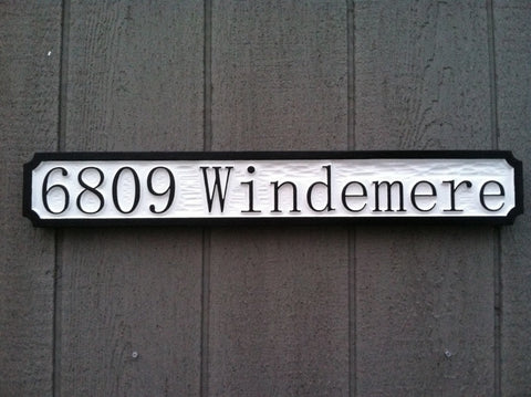 4 digit address sign rectangle painted white with black trim