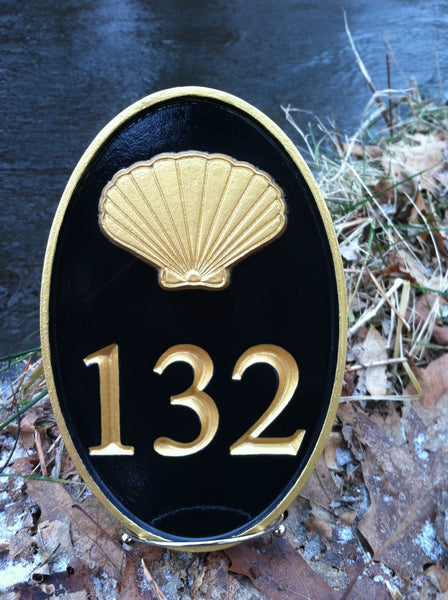 Oval cape cod theme house number plaque with sea shell