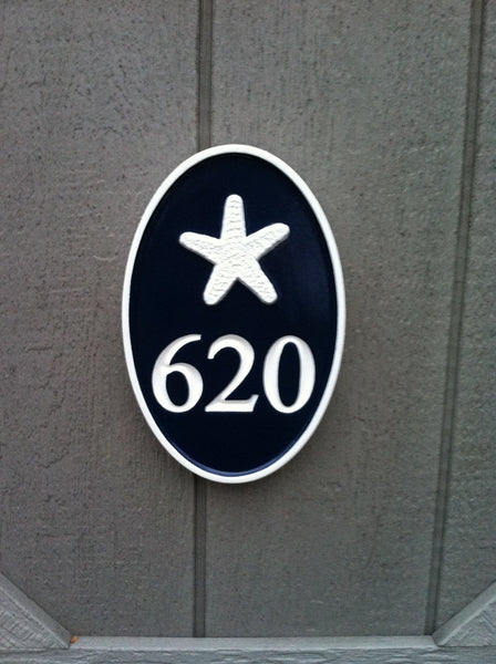 Oval cape cod theme house number plaque with starfish