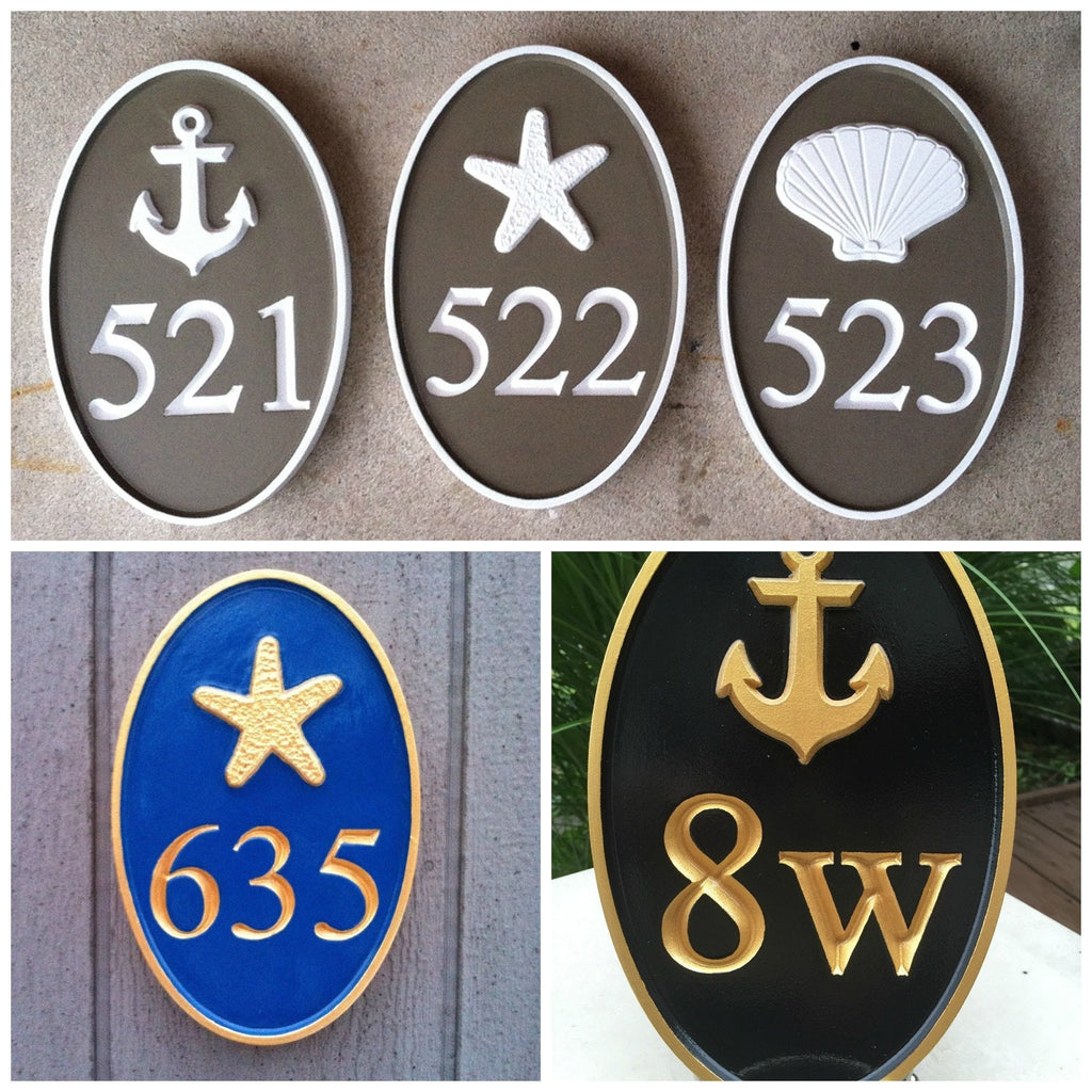 Hanging Address Plaque Oval Cape Cod Theme House Number Plaque Series