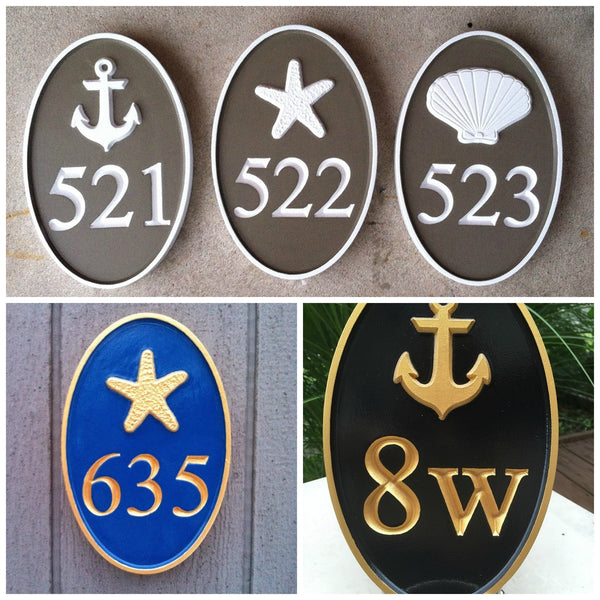 Oval cape cod theme house number plaque series