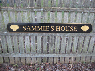 Custom Carved Quarterboard sign with Name and Scallop sea shells (Q5) - The Carving Company