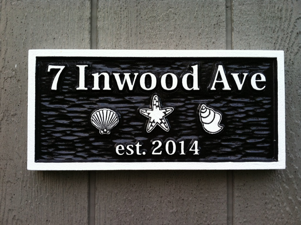 Carved Street Address plaque with beach theme (A22) - The Carving Company