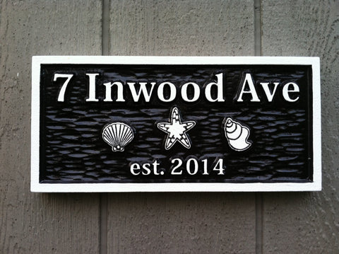 7 Inwood Ave address sign with shells - front