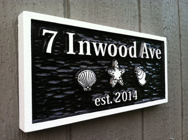 7 Inwood Ave address sign with shells - iso1