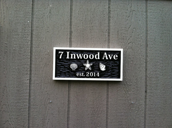 7 Inwood Ave address sign with shells - front2