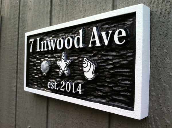 7 Inwood Ave address sign with shells - iso2