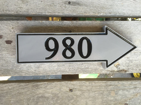 980 house number sign with arrow pointing right custom carved