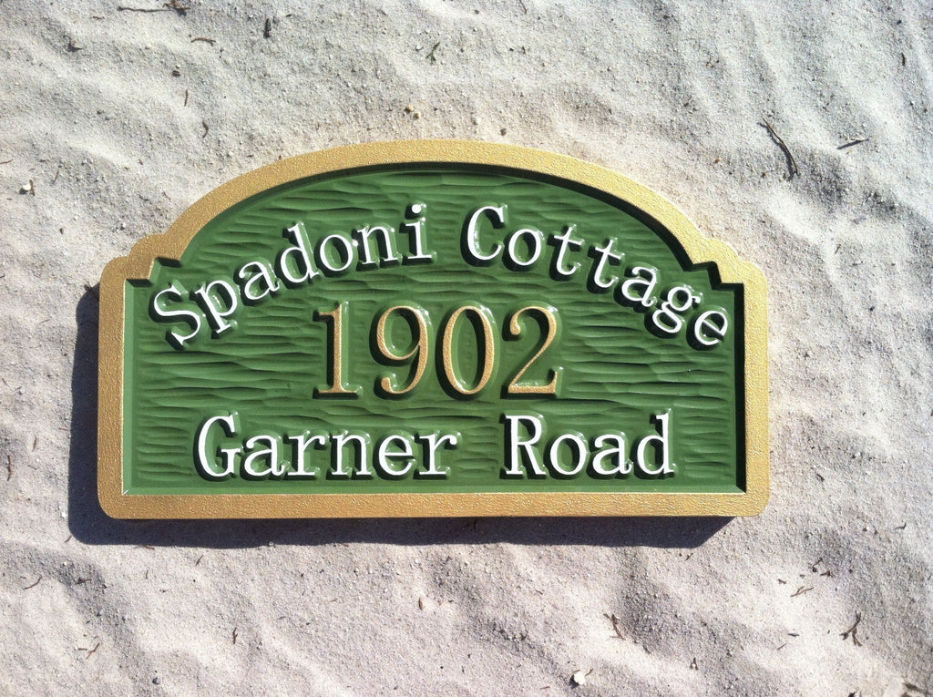 Custom Carved Cottage Home Address with Last Name Entrance Sign (A20) - The Carving Company