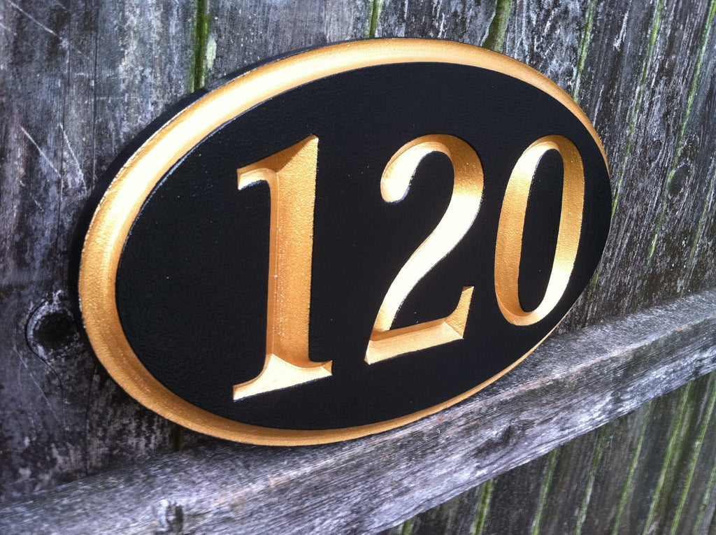 Oval V-Carved House Number Sign - any number up to 5 digits (A41) - The Carving Company