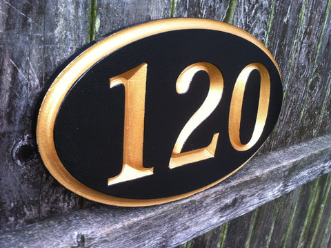 Classic oval house number sign carved numbers black and gold