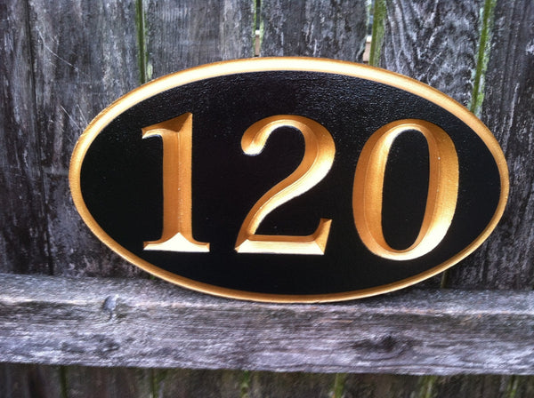 Black and gold oval house number sign 3 digit