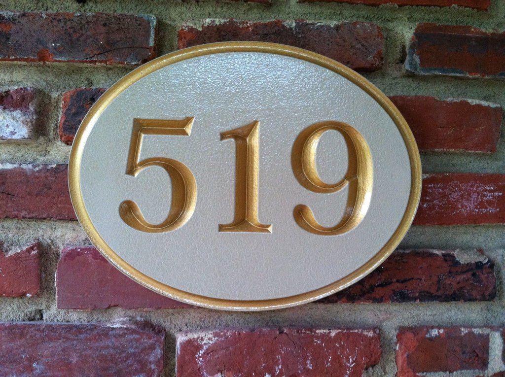 Oval house number v-carved sign -front painted beige and gold