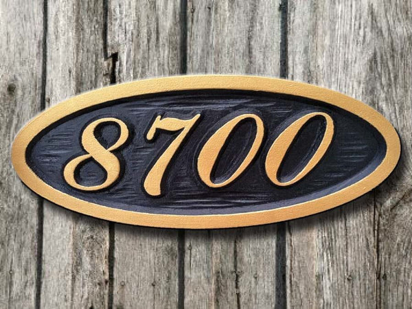 Oval house number sign with textured background -8700