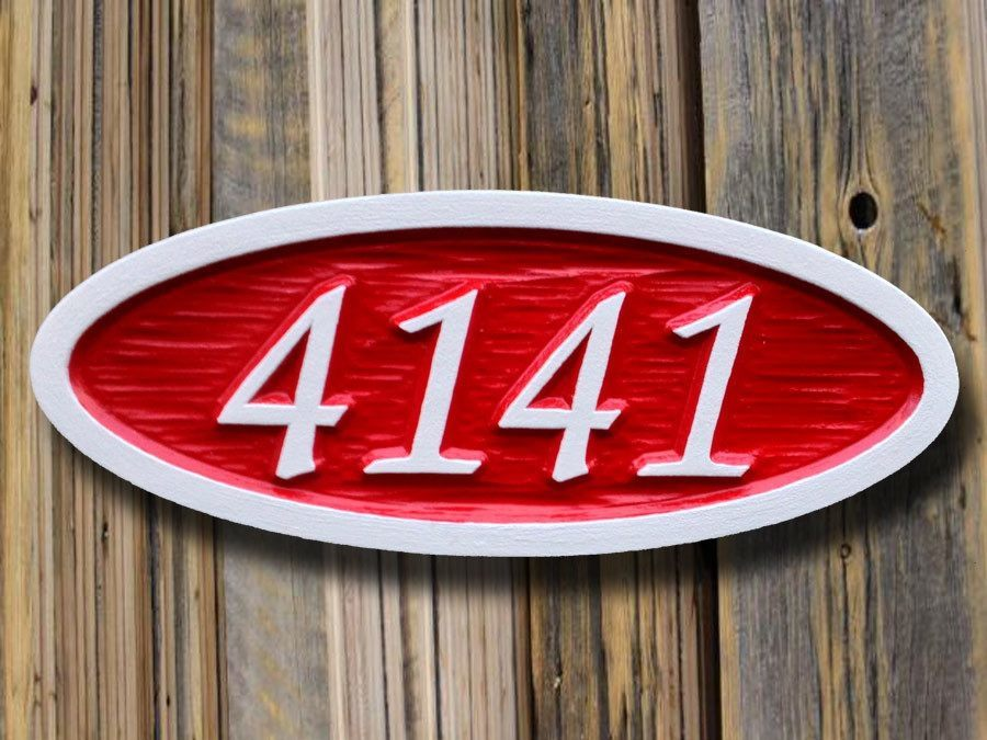 Custom Carved Oval House number / Street Address Sign - Made to Order (A10) - The Carving Company
