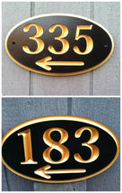 Custom Carved House Number - Street address Sign with arrow (A168) - The Carving Company