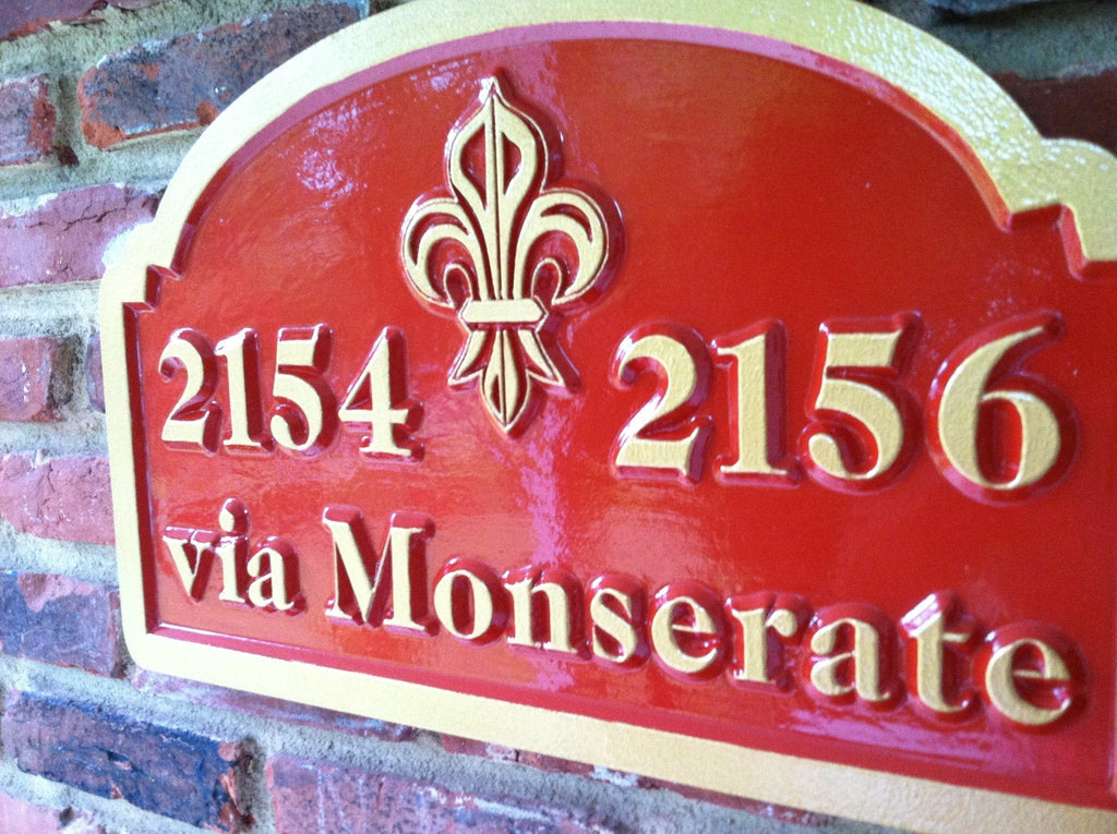 Custom Carved Street Address Sign with Fleur-de-lis (A16) - The Carving Company