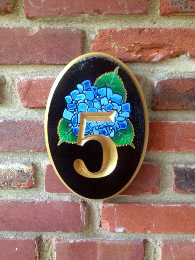Custom Carved House number with Hydrangea flower (A23) - The Carving Company
