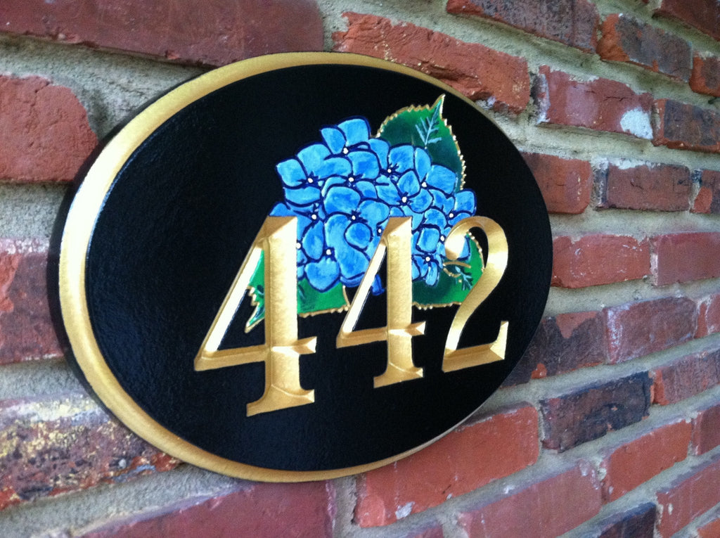 House number with Hydrangea flower (A57) - The Carving Company