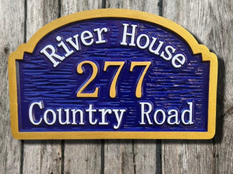 Custom Carved Street Address sign - Personalized Entrance Plaque(A9) - The Carving Company