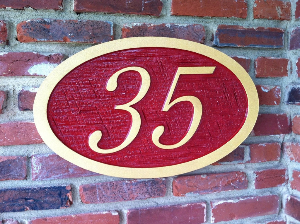 Cedar house number with cross hatch texture