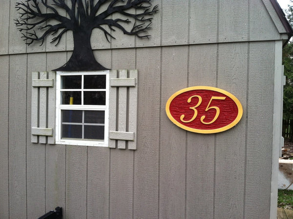 Cedar house number with cross hatch texture -front