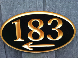 Custom Engraved House Number with arrow (A36) - The Carving Company