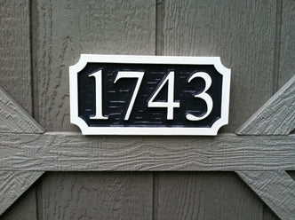 Custom House Number Sign - Rectangle with Scalloped Corners- up to 4 Numbers (A50) - The Carving Company