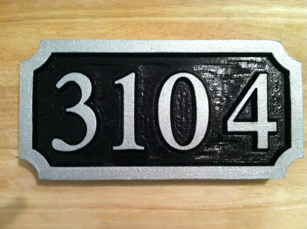 House number sign with textured background -front3