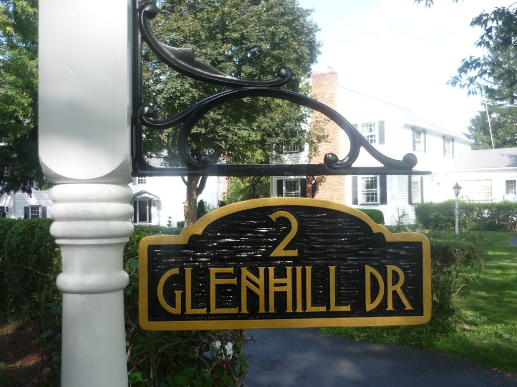 Glennhill drive address sign with craftsman font