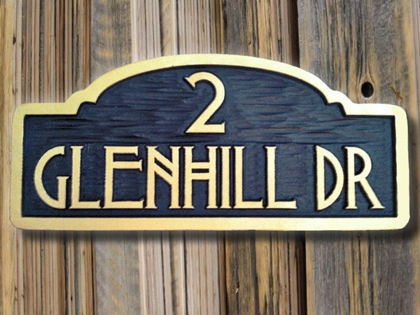Glennhill drive address sign with craftsman font -front