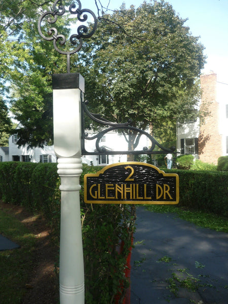 Glennhill drive address sign with craftsman font -setting
