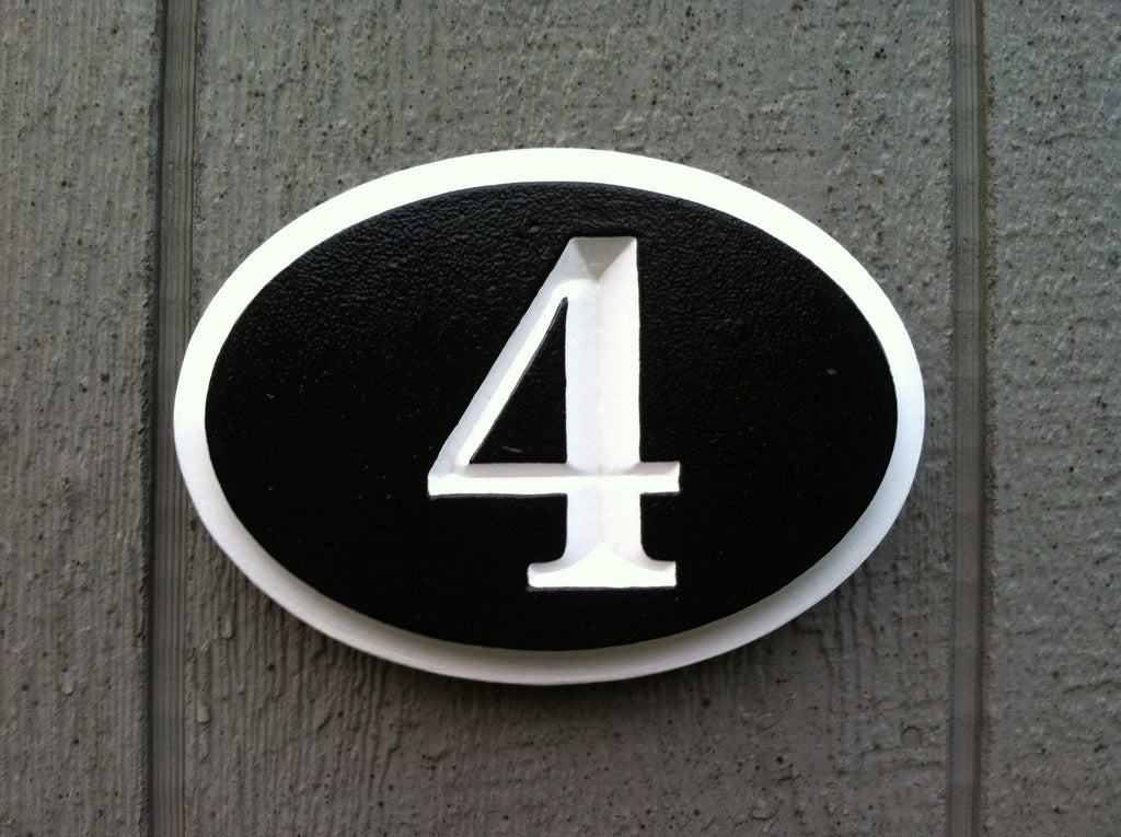 House Number Plaque - V-Carved Oval  (A402) - The Carving Company