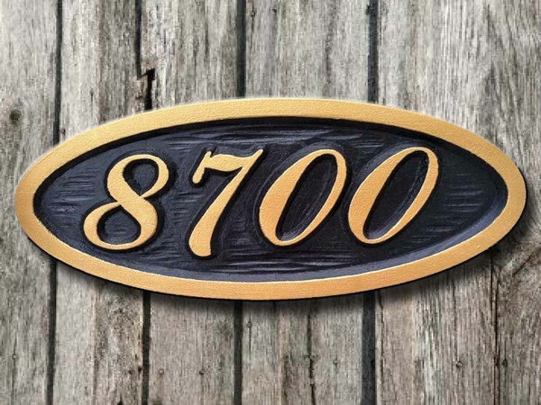 Custom oval house number sign 4 digits