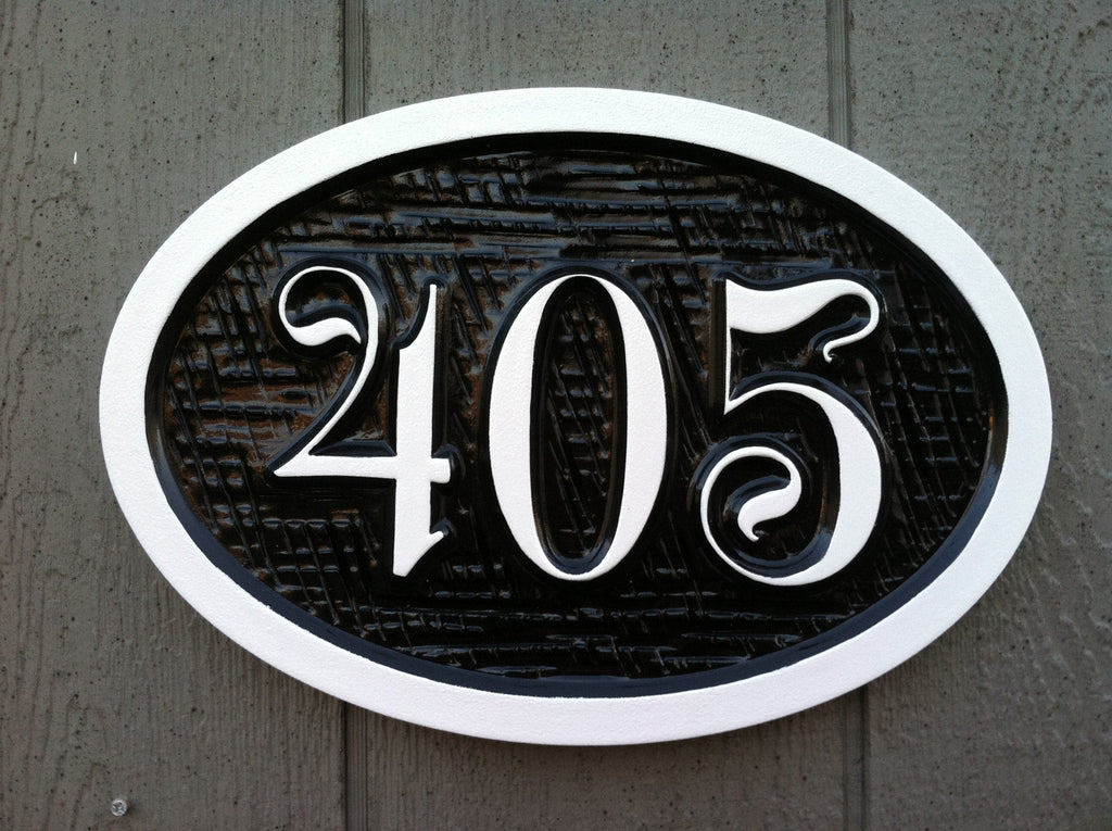 Made to order Custom Carved Street Address sign / House Marker (A113) - The Carving Company