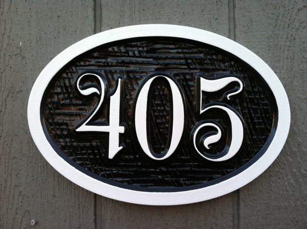 Customized oval house number sign with fancy font