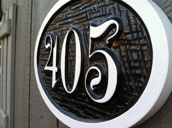 Personalized house number sign oval