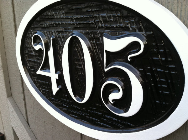 Custom house number sign with whimsical font