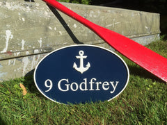 Oval Navy and White Address Sign with Anchor
