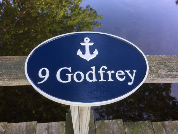 Maritime theme address sign with anchor