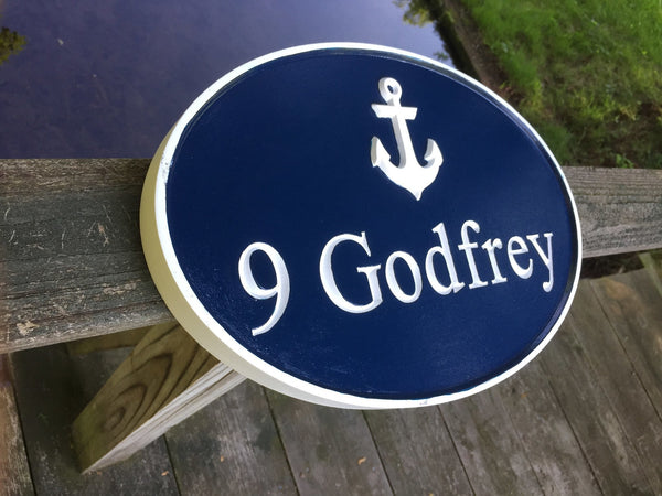 Oval address sign with anchor -iso