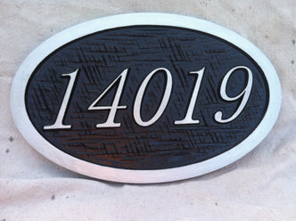 Oval House Number Sign with Cross Hatched Texture (A38) - The Carving Company