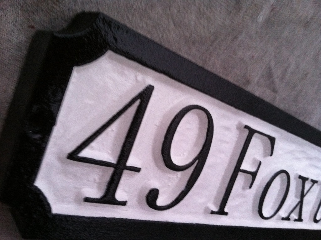 Personalized Address Sign with Street Name  (A54) - The Carving Company