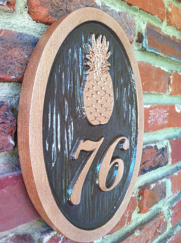 Pineapple welcome sign with house number custom paint