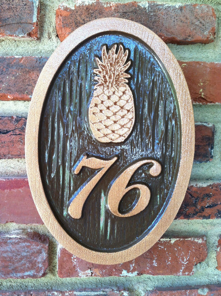Pineapple motif welcome house number sign with copper and oil rubbed bronze finish