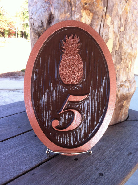 Oil rubbed bronze and copper painted house number sign with pineapple