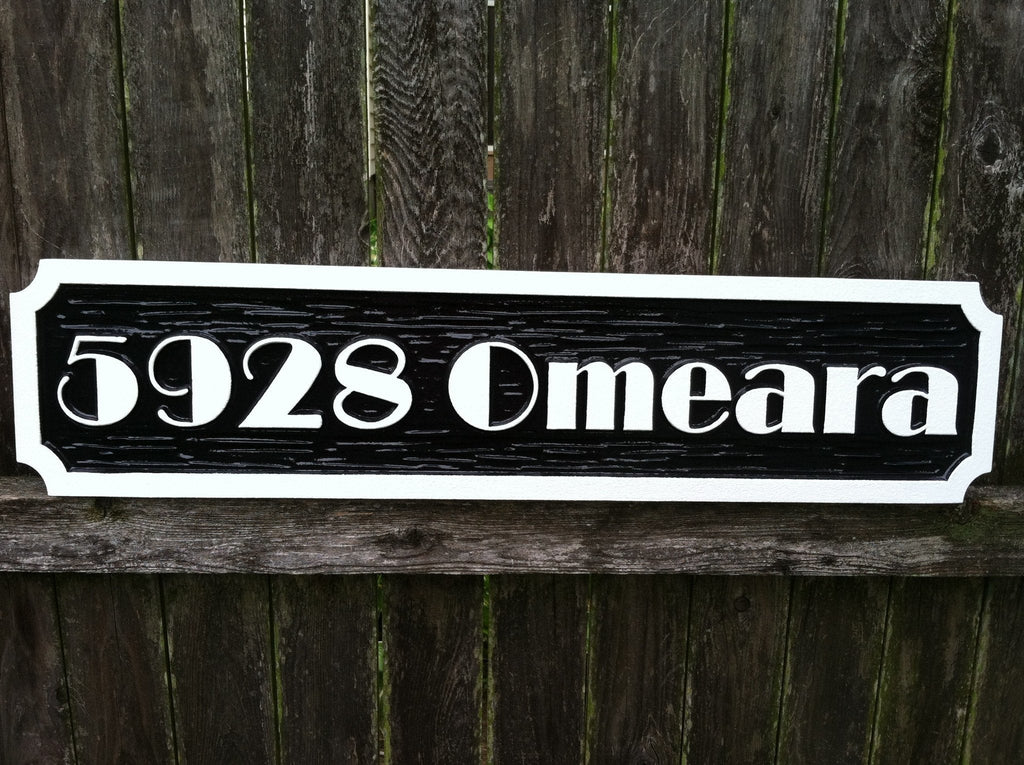 Personalized Address Sign with Street Name with Broadway Font (A51) - The Carving Company